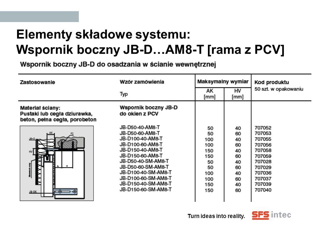 Elementy składowe systemu: Wspornik boczny JB-D…AM8-T [rama z PCV]